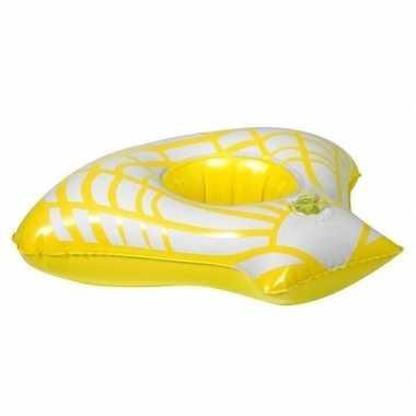 Opblaasbare blikjes houder gele zeeschelp 23 cm prijs