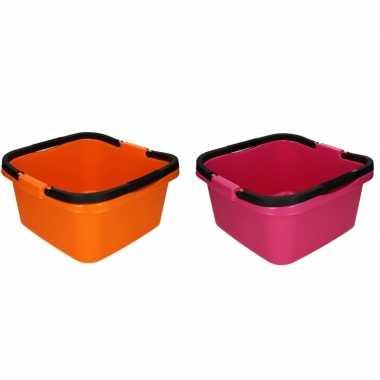 Oranje en roze afwasteil / emmer met handvat 13 liter prijs