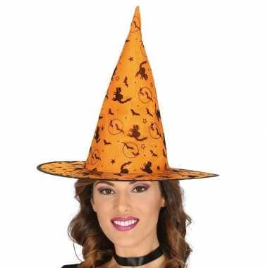 Oranje heksen hoed met zwarte kat print voor dames prijs