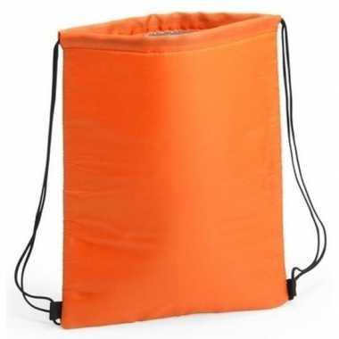 Oranje koeltas rugzak/gymtas 32 x 42 cm met drawstring/rijgkoord prij
