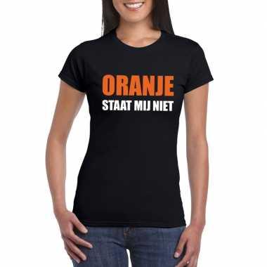 Oranje staat mij niet fun t-shirt voor dames zwart prijs