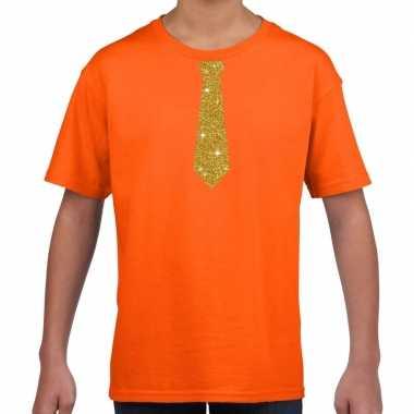 Oranje t-shirt met gouden stropdas voor kinderen prijs