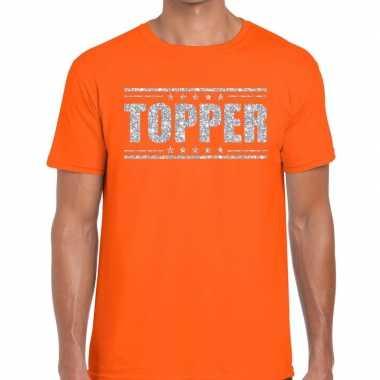 Oranje topper shirt in zilveren glitter letters heren prijs