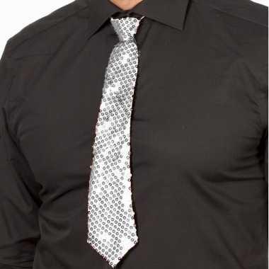 Oud en nieuw zilveren glitter verkleed stropdassen 32 cm voor dames/h