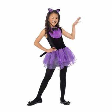 Paars met zwarte kat/poes verkleedkleding voor meiden prijs