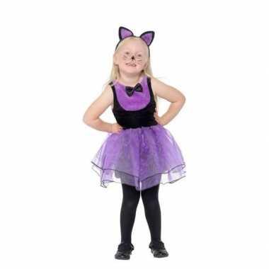 Paars met zwarte kat/poes verkleedkleding voor peuters prijs
