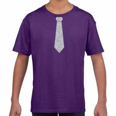 Paars t-shirt met zilveren stropdas voor kinderen prijs