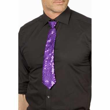 Paarse glitter verkleed stropdassen 32 cm voor dames/heren prijs