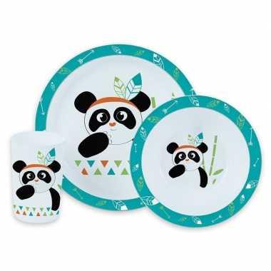 Panda kunststof serviesset 3-delig bord/diep bord/beker voor kinderen