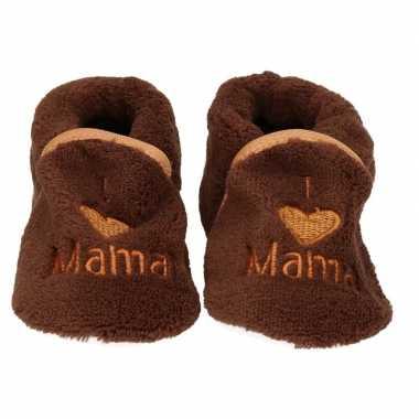 Pantoffels/sloffen love mama bruin voor babies prijs