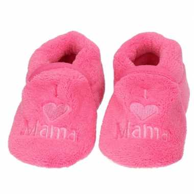 Pantoffels/sloffen love mama fuchsia voor babies prijs