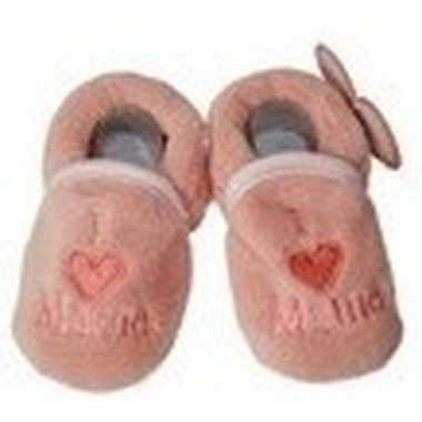 Pantoffels/sloffen love mama zalmroze voor babies prijs