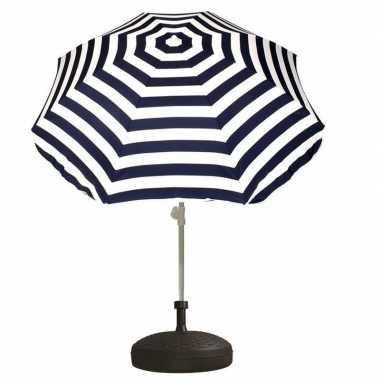 Parasolstandaard en blauw/witte gestreepte parasol prijs