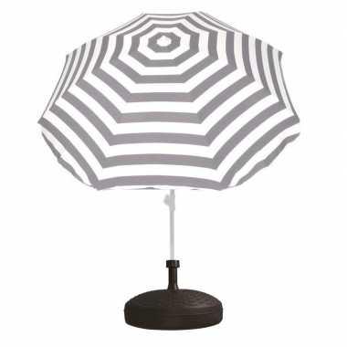 Parasolstandaard en grijs/witte gestreepte parasol prijs