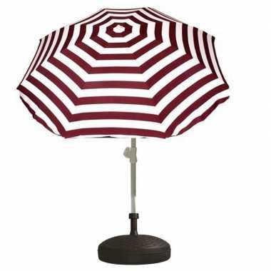 Parasolstandaard en rood/witte gestreepte parasol prijs
