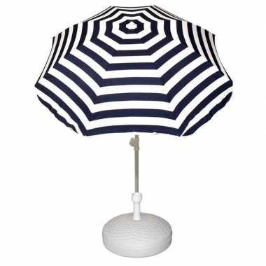 Parasolstandaard wit en blauw/witte gestreepte parasol prijs