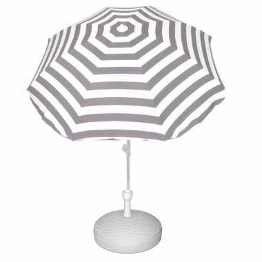 Parasolstandaard wit en grijs/wit gestreepte parasol prijs