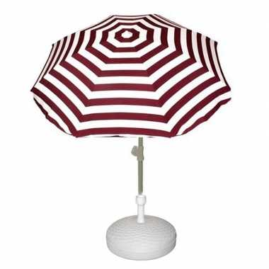 Parasolstandaard wit en rood/witte gestreepte parasol prijs