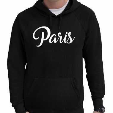 Parijs hooded sweater zwart met paris bedrukking voor heren prijs