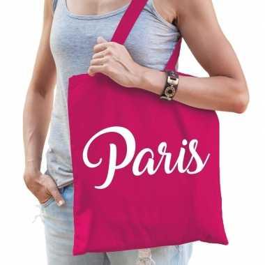 Parijs schoudertas fuchsia roze katoen met paris bedrukking prijs