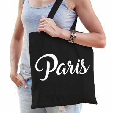 Parijs schoudertas zwart katoen met paris bedrukking prijs