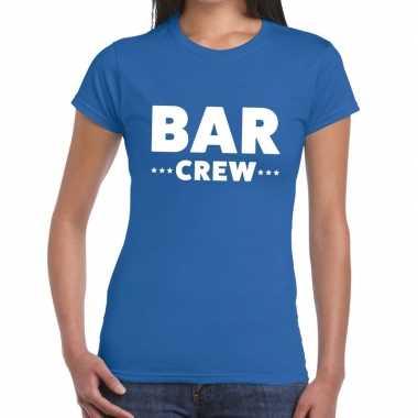 Personeel t-shirt blauw met bar crew bedrukking voor dames prijs