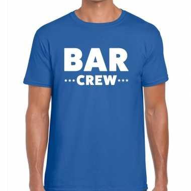Personeel t-shirt blauw met bar crew bedrukking voor heren prijs