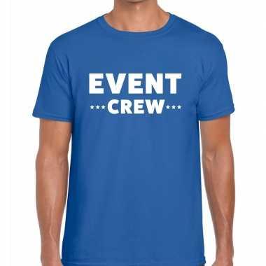 Personeel t-shirt blauw met event crew bedrukking voor heren prijs