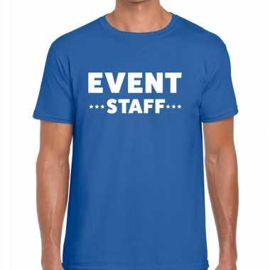 Personeel t-shirt blauw met event staff bedrukking voor heren prijs
