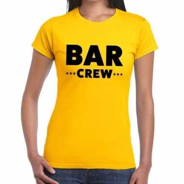 Personeel t-shirt geel met bar crew bedrukking voor dames prijs