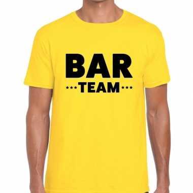 Personeel t-shirt geel met bar team bedrukking voor heren prijs