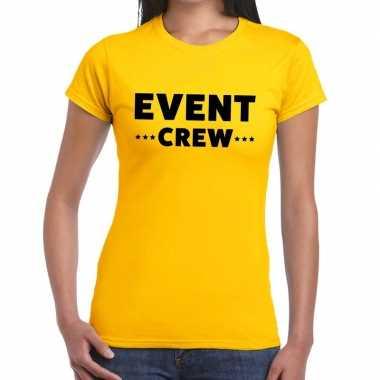 Personeel t-shirt geel met event crew bedrukking voor dames prijs