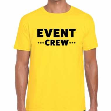 Personeel t-shirt geel met event crew bedrukking voor heren prijs