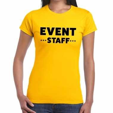 Personeel t-shirt geel met event staff bedrukking voor dames prijs