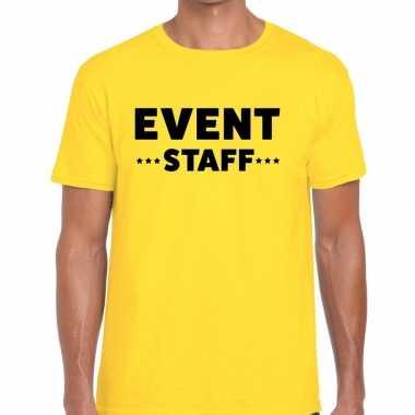 Personeel t-shirt geel met event staff bedrukking voor heren prijs