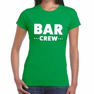 Personeel t-shirt groen met bar crew bedrukking voor dames prijs