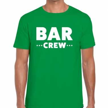 Personeel t-shirt groen met bar crew bedrukking voor heren prijs