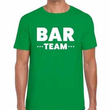 Personeel t-shirt groen met bar team bedrukking voor heren prijs