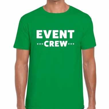 Personeel t-shirt groen met event crew bedrukking voor heren prijs