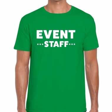 Personeel t-shirt groen met event staff bedrukking voor heren prijs