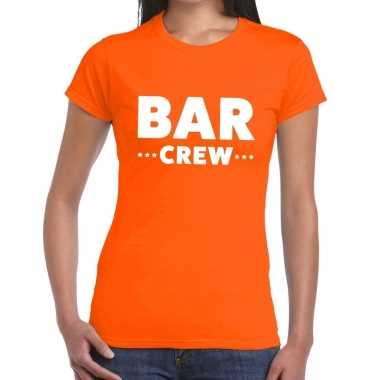 Personeel t-shirt oranje met bar crew bedrukking voor dames prijs