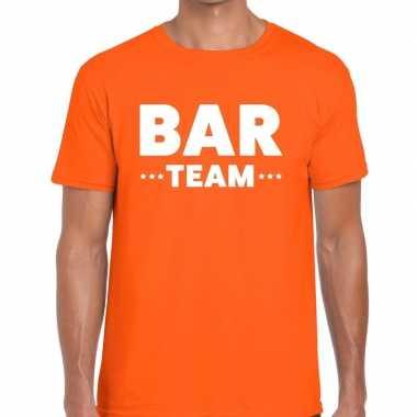 Personeel t-shirt oranje met bar team bedrukking voor heren prijs