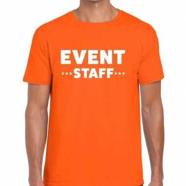 Personeel t-shirt oranje met event staff bedrukking voor heren prijs