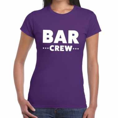 Personeel t-shirt paars met bar crew bedrukking voor dames prijs