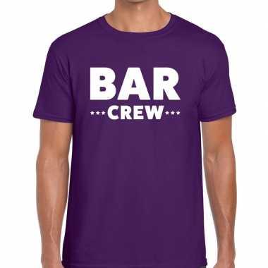 Personeel t-shirt paars met bar crew bedrukking voor heren prijs