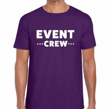 Personeel t-shirt paars met event crew bedrukking voor heren prijs