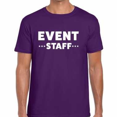 Personeel t-shirt paars met event staff bedrukking voor heren prijs