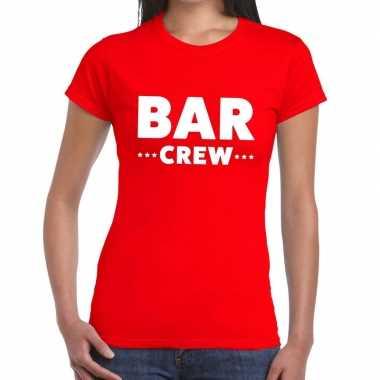 Personeel t-shirt rood met bar crew bedrukking voor dames prijs