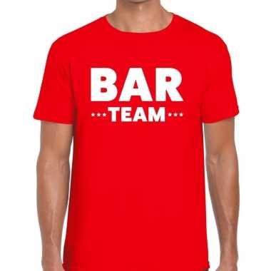 Personeel t-shirt rood met bar team bedrukking voor heren prijs