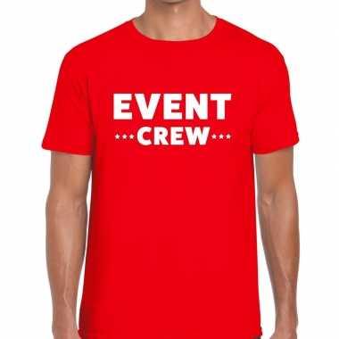 Personeel t-shirt rood met event crew bedrukking voor heren prijs
